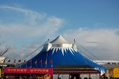 picture of circus tent  - a picture of a circus big top tent shot in the uk - JPG