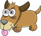 Crazy Insane Puppy Dog Vector Art Illustration