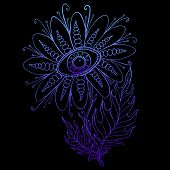Vintage Fantasy Flower With The Eye, Blue Gradient Color Outline. Isolated Pattern. Decorative Eleme poster