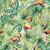 Flamingo Pattern. Tropical Summer Green Red Print. Exotic Spring Monstera Background With Birds. Fas poster