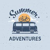 Summer Adventures Surf Bus Bike Retro Surfing Vintage Greeting Card With Lettering Template Poster F poster