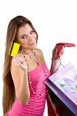 Smiling Beautiful Woman Pulled From The Purse Credit Card