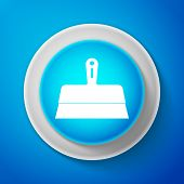White Putty Knife Icon Isolated On Blue Background. Spatula Repair Tool. Spackling Or Paint Instrume poster
