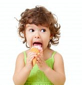 stock photo of ice cream cone  - little curly girl with ice cream in studio isolated - JPG
