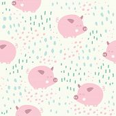 Cute Pigs Characters Pink Seamless Pattern. Pig Character Doodle Background In Scandinavian Style. P poster