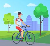 Smiling Man On Blue Bike Vector Illustration, Colorful Banner With City Landscape, Two Green Trees A poster