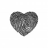 Fingerprint Heart Vector Icon Flat Style Illustration For Web, Mobile, Logo, Application And Graphic poster