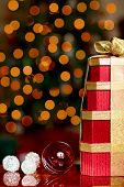 Red And Siver Christmas Ornaments And Gold And Red Presents~ Golden Christmas Lights Bokeh Backgroun
