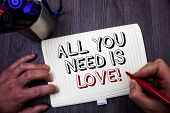 Conceptual Hand Writing Showing All You Need Is Love Motivational. Business Photo Showcasing Deep Af poster