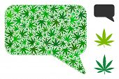 Message Cloud Collage Of Marijuana Leaves In Various Sizes And Green Tones. Vector Flat Marijuana Sy poster