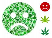 Sad Mood Smiley Mosaic Of Weed Leaves In Different Sizes And Green Tinges. Vector Flat Weed Symbols  poster