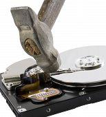 Computer Hard Disk Under Hammer