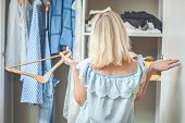 Girl Near The Wardrobe With Clothes Chooses What To Wear Nothing To Wear Design poster