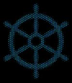 Halftone Boat Steering Wheel Mosaic Icon Of Spheres In Blue Color Hues On A Black Background. Vector poster