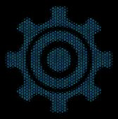 Halftone Cogwheel Collage Icon Of Spheres In Blue Color Tones On A Black Background. Vector Bubble S poster