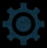 Halftone Cogwheel Composition Icon Of Spheric Bubbles In Blue Color Hues On A Black Background. Vect poster