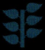 Halftone Flora Plant Mosaic Icon Of Empty Circles In Blue Color Tones On A Black Background. Vector  poster