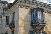 Ancient Balcony .  Beautiful  Facade From Ancient European Style Building poster
