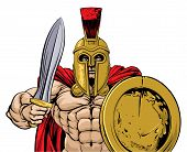An Illustration Of A Gladiator, Ancient Greek, Trojan Or Roman Warrior Or Gladiator Wearing A Helmet poster