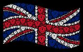 Waving Great Britain State Flag On A Black Background. Vector Electric Guard Elements Are Grouped In poster