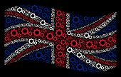 Waving Uk State Flag On A Black Background. Vector Gears Pictograms Are Scattered Into Mosaic Great  poster