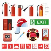 Set Of Various Red Metal Fire Extinguishers, Various Forms And Nozzles And Hoses. Firefighting, Elim poster
