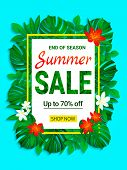 Summer Sale Banner. Seasonal Promotion Poster. Tropic Sellout Design. Floral Jungle Background With  poster
