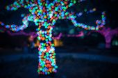 Vintage Background Of Colorful Circular Bokeh From Christmas Light Decoration poster