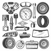 Auto Spare Parts And Instruments Sketch For Car Mechanics. Vector Set Of Motor Engine, Motor Oil Or  poster