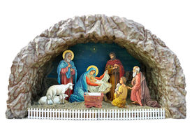 picture of magi  - a traditional ukrainian christmas model of nativity scene with the child the mother mary and joseph shepherds and adoration of the magi - JPG