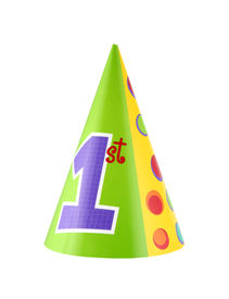 image of birthday hat  - 1st birthday party hat isolated on white background - JPG