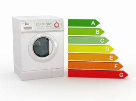 stock photo of washing-machine  - Washing machine with the scale of energy efficiency - JPG
