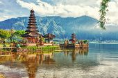stock photo of hindu temple  - Pura Ulun Danu temple on a lake Beratan - JPG