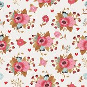 Seamless flowers decorative retro pattern