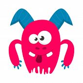 Monster Vector Isolated. Colorful And Cute Creature poster