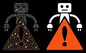 Flare Mesh Robot Warning Icon With Sparkle Effect. Abstract Illuminated Model Of Robot Warning. Shin poster
