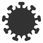 Raster Sars Virus Flat Icon. Raster Pictograph Style Is A Flat Symbol Sars Virus Icon On A White Bac poster