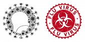 Coronavirus Mosaic Human Flu Virus Icon And Round Grunge Stamp Seal With Flu Virus Phrase. Mosaic Ve poster