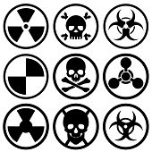 A Set Of Nine Different Icons. Bio-attack, Nuclear Danger, Bio-danger, And More. Vector Illustration poster