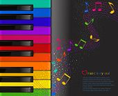 vector colorful piano keyboard with musical notes on a black background