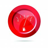 Fuel Gauge Red Icon Vector Illustration