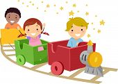 Illustration Featuring Kids Riding a Train