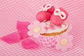 picture of mary jane  - Pink cupcake with baby shoes and hearts - JPG