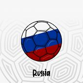 Ball Flag Of Russia, Football Championship Banner, Vector Illustration Of Abstract Soccer Ball With  poster