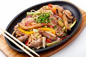 Udon with beef,  japanese cuisine