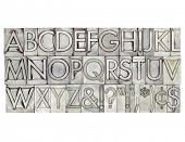 English alphabet, dollar, cent and punctuation signs in vintage metal type