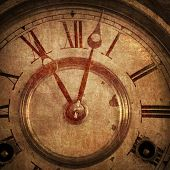 Old Rendering Of Antique Clock Background.