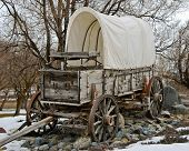 stock photo of covered wagon  - Covered wagon at Farewell bend state Park on oregon - JPG