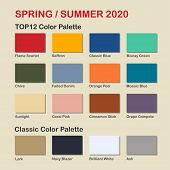 Spring / Summer 2020 Trendy Color Palette. Fashion Color Trend. Palette Guide With Named Color Swatc poster