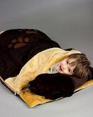 Little boy in sleeping bag